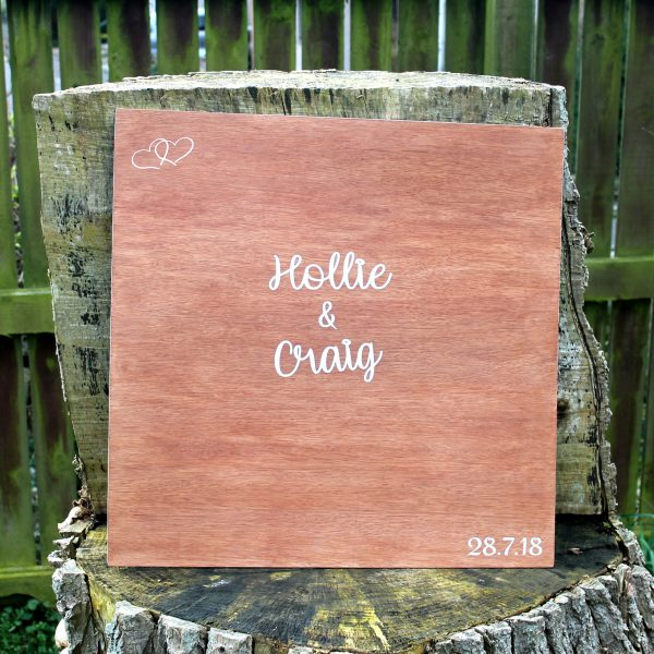 Wooden Board Wedding Guest Book