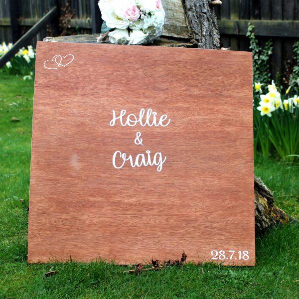 Wooden Board Wedding Guest Book